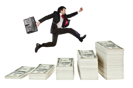 business growth concept with jumping manager isolated on white